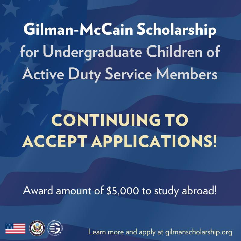 Gilman-McCain Scholarship – Study Abroad!